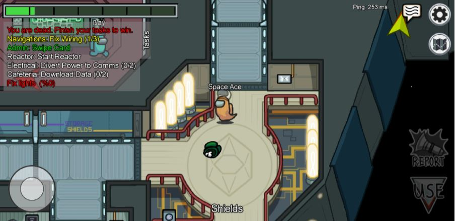 A screenshot of an orange astronaut in Among Us