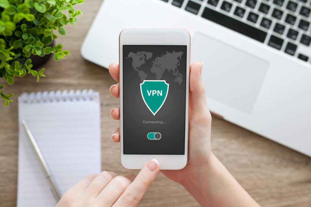 Mobile phone connecting securely through a VPN