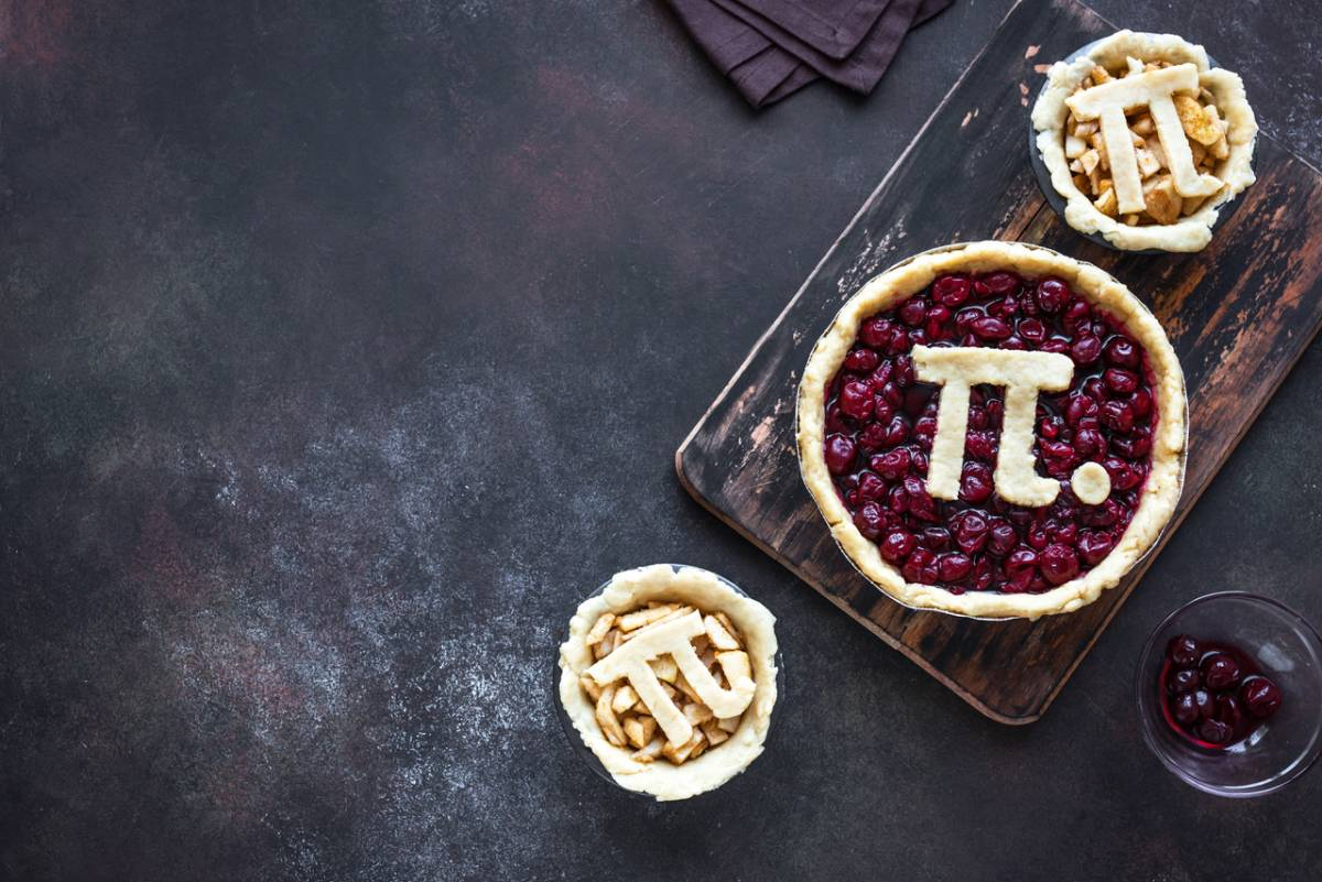 A cherry pie, and 2 apple pies, with the pi symbol on top of each one