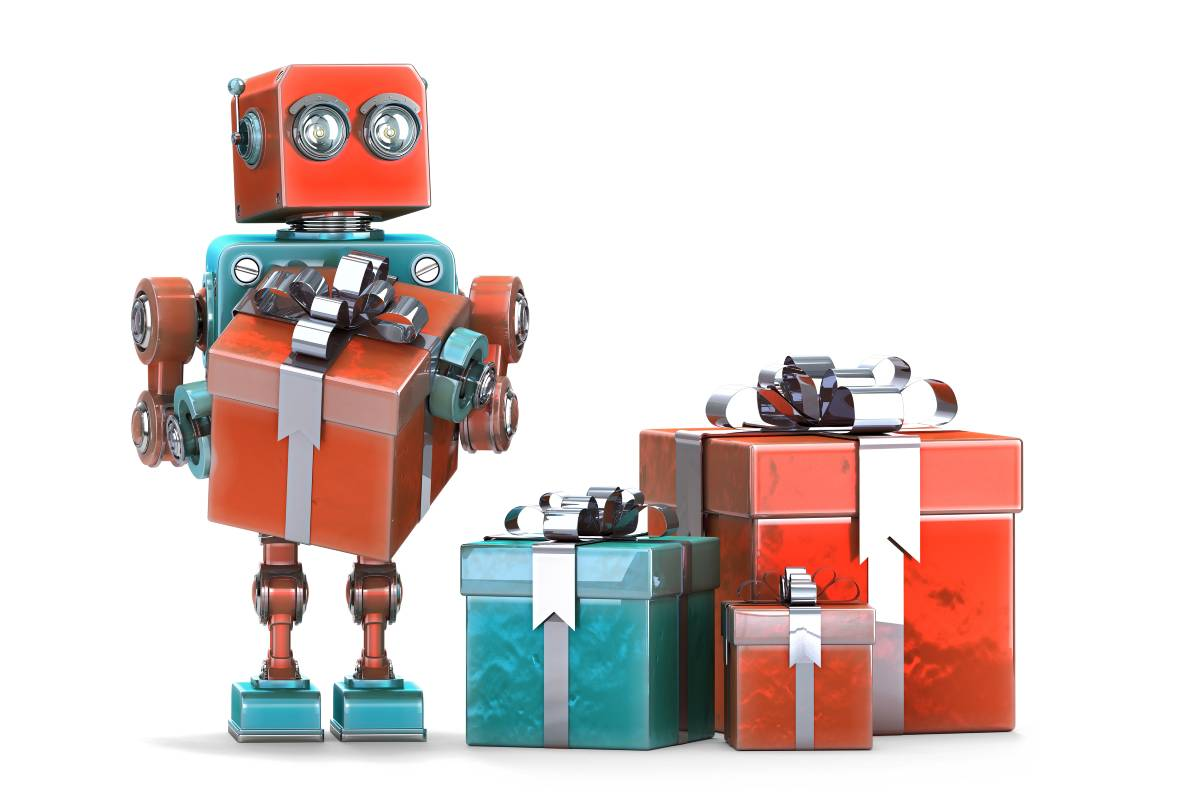 A red robot with red and green presents next to it